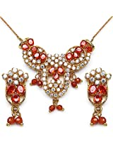 14.10 Grams Red Cubic Zirconia & White Cubic Zirconia Gold Plated Brass Pendant Set