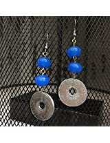 No Strings Attached blue glass bead silver disc earrings