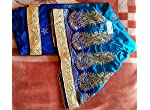 Blue Chanderi Floral Kora Silk Saree With blouse piece