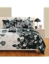 Swayam Zinnia Collection Printed 4 Piece Cotton Bed in a Bag Set with Heavy Winter Comforter - Multicolour