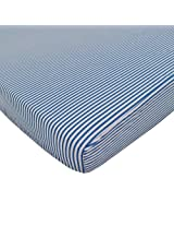 American Baby Company 100% Cotton Percale Fitted Portable/Mini Crib Sheet, Chambray Stripe