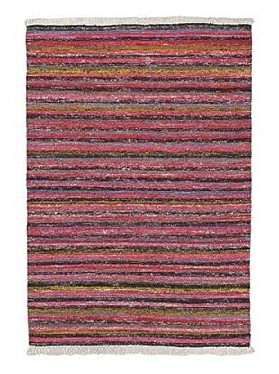 Hand Woven Silky Allure Modern Flatweave Kilim, Black/Dark Pink, 4' 7
