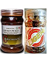 Meat Lover's Combo - CHAVADY's Chicken Pickle 300 Gms & LIGER Fish Chips 100 Gms