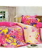Amethyst Pink And Yellow Floral Double Bed Sheet Set