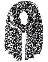 La Fiorentina Women's 100% Silk Geometric Dot and Checker Scarf, Black/White, One Size