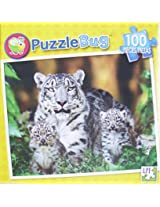 Puzzle Bug 100 Piece Puzzle ~ Snow Leopard Mother And Cubs