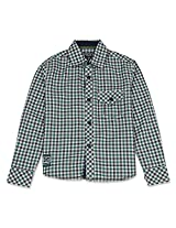 Cool Gingham Full Sleeve Boys Shirt Turquoise