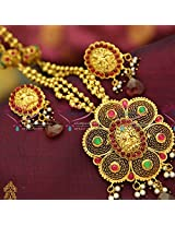 Beaded Temple Jewellery Laxmi God Pendant Antique One Gram Gold Necklace