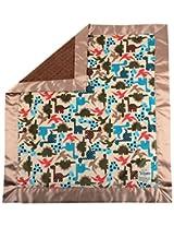 My Blankee Dino Minky Cherry w/ Minky Dot Espresso Baby Blanket, 30