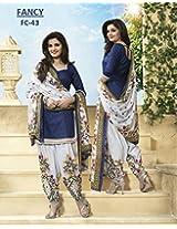 Shree Fashion Woman's Cotton With Dupatta [Shree (27) Blue_Blue]