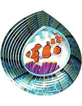 "Iron Stop 10"" 3D Metal Wind Spinner Clownfish Nemo Fish + 2 Swivels - Home Garden Twister USA"