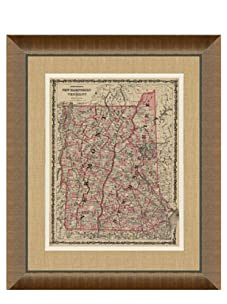 """Johnson and Ward Antique Map of New Hampshire & Vermont, 1860's, 28"""" x 34"""""""