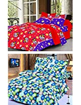 Nature Made Pack of 2 Blue & Red Printed Double Bed Sheets 250 TC