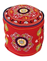 Eye-Catching Round Red Ottoman Cotton Floral Embroidered Pouf Cover Living Room By Rajrang