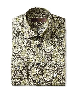 Etro Men's Spread Collar Paisley Long Sleeve Shirt (Black)