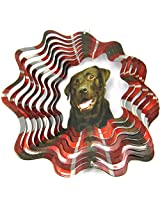 "Iron Stop 10"" 3 D Wind Spinner Designer Chocolate Lab Labrador Dog Multi Color Powder Coated Metal + 2 Swivel Clip Hanging Hooks Home Lawn Twister Usa"