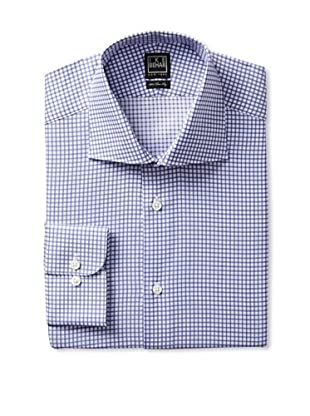 Ike Behar Men's Long Sleeve Classic Fit Checked Dress Shirt (Periwinkle)