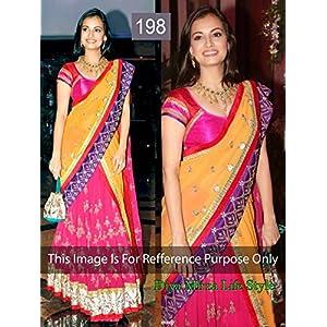 Bhuwal Fashion Pink, Orange Net Bollywood Replica Lehenga Saree