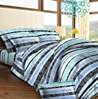 Bombay Dyeing Roseville Printed Cotton Double Bedsheet with 2 Pillow Covers - Blue (CS03RS04735501)
