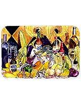 Caroline's Treasures 8638JCMT Crystal Hot Sauce with Fleur De Lis and Wine Kitchen or Bath Mat, 24 by 36 , Multicolor