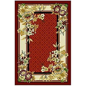 FabLooms Rust & Cream Floral Carpet - (4 Feet x 6.5 Feet)