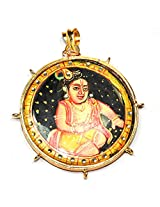 "Khushigems ""Lord Krishna "" Natural Black Onyx Gold Plated Pendant Handmade Jewelry A494"