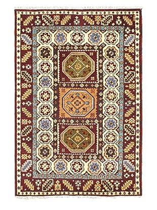 Hand-Knotted Royal Kazak Rug, Cream/Dark Red, 4' 1