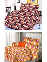 Nature Made Pack of 2 Yellow & Brown Printed Double Bed Sheets 250 TC