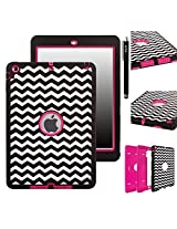 iPad Air Case, E LV iPad Air Case Cover - Shock-Absorption / Impact Resistant Hybrid Dual Layer Armor Defender Full Body Protective Case Cover with 1 Screen Protector, 1 Stylus and 1 E LV Microfiber Digital Cleaner for iPad Air - Zig Zag Hot Pink