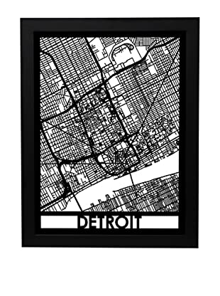 Cut Maps Detroit Framed 3-D Street Map