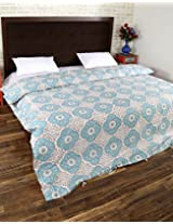 Vintage Hand Block Printed Cotton Duvet Cover Double White Floral By Rajrang