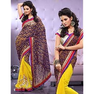 Full chiffon dyed sari ecocity303