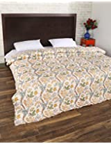 Comfortable Hand Block Printed Cotton Quilt Double White Floral By Rajrang