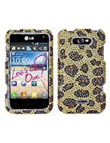 Aimo LGMS770HPCDM113NP Dazzling Diamante Bling Case for LG Motion 4G MS770 - Retail Packaging - Leopard Skin/Camel