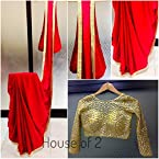 Red Satin with Mirror work lace all over the saree. Gold Jamwar Unstitched 80cm blouse piece