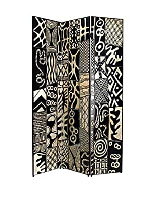 Charleston African Motif Screen, Black/Silver