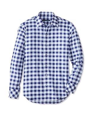 Zachary Prell Men's Sampson Checked Long Sleeve Shirt (Blue)
