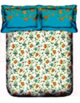 Portico New York Marvella 144 TC Cotton Bedsheet with 2 Pillow Covers - Abstract, Queen Size, Light Blue
