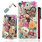 Ancerson New Eye-catching 3D DIY Handmade Bling Pink Crystal Diamond Rhinestone Butterfly Roses Sakura White Pumpkin Car Camellia Purple Resin Roses Turquoise Golden Flower Clear Transparent Back Hard Protective Case Cover for Samsung Galaxy Mega 6.3 I920 Samsung Galaxy Note 3 III N9000 N9002 N9005