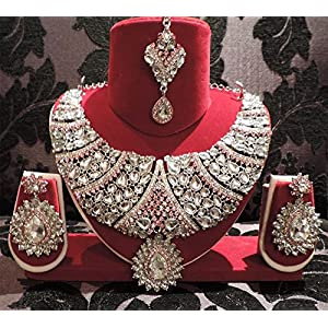 Kundan Pink Silver Elegant Necklace Set