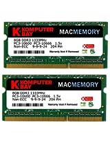 Komputerbay MACMEMORY 16GB (2x 8GB) PC3-10600 10666 1333MHz SODIMM 204-Pin Laptop Memory 9-9-9-24 for Apple Mac