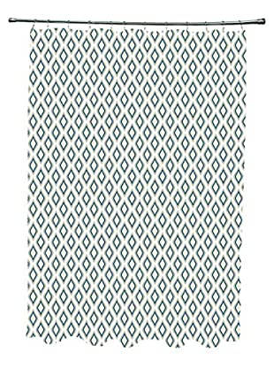 e by design Bird's Eye Shower Curtain, Ivory/Grey/Blue