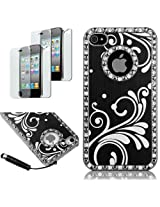 Pandamimi Deluxe Black Chrome Bling Crystal Rhinestone Hard Case Skin Cover for Apple iPhone 4 4S 4G With Screen Protector and Stylus