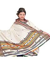 Exotic India Egret-White Shawl from Kutch with Thread Weave in Multi-col - White