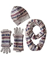 Muk Luks Women's Reversible Beanie Scarf and Glove Three-Piece Gift Set