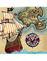 Creative Converting Pirates Map 16 Count Paper Lunch Napkins Brown/Black