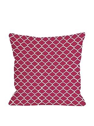 One Bella Casa Fence 18x18 Outdoor Throw Pillow (Raspberry)