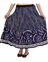 Exotic India Caviar-Black Midi-Skirt with Printed Flowers and Sequins - Black
