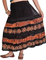 Exotic India Long Embroidered Skirt with Batik Print and Lace - Color Peach PinkGarment Size Free Size