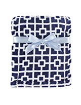 Luvable Friends Print Coral Fleece Blanket, Blue Trellis